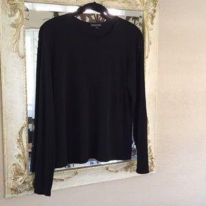 Eileen Fisher top. Black silk jersey. Size M
